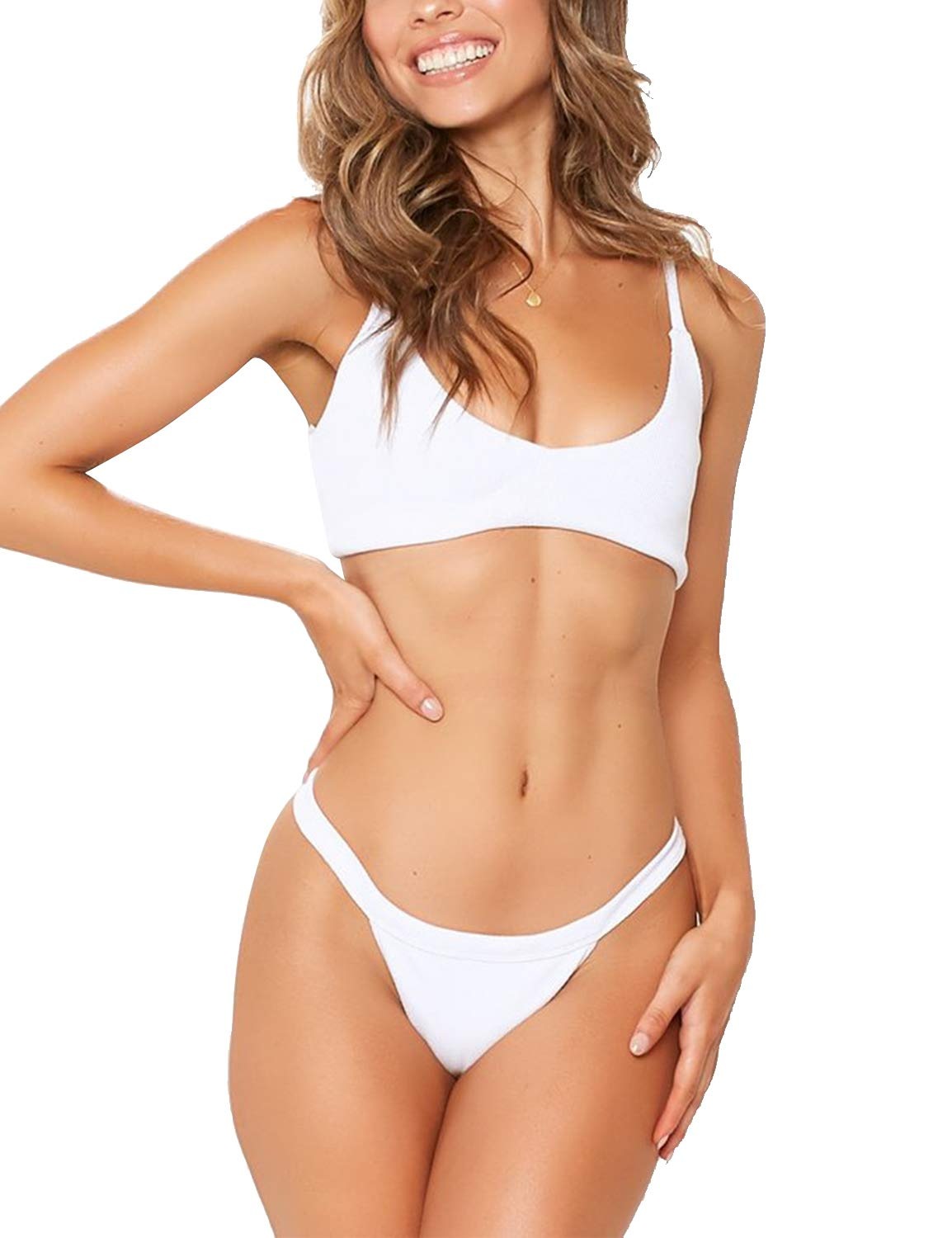 MAY Womens Two Piece Swimsuit Scoop Neck High Cut Cheeky Thong Bikini White