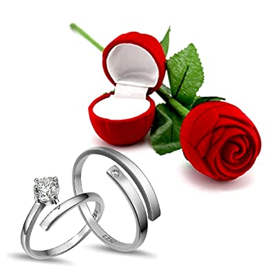 63f7bece8f Peora Hamper of Couple Ring with Red Rose Gift Box for Boyfriend/Girlfriend/Gift  for Valentine/Gift for Him/Gift for Her: Amazon.in: Jewellery