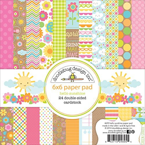 Doodlebug Paper Pad, 6-Inch by 6-Inch, Hello Sunshine, 24-Pack