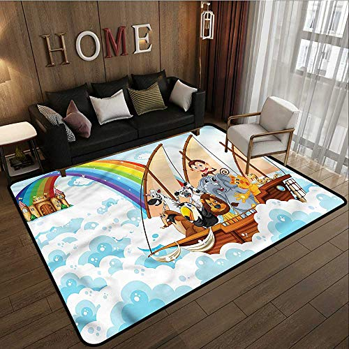 - Outdoor Patio Rug Children Noahs Ark in Clouds Anti-Slip Doormat Footpad Machine Washable 5'10