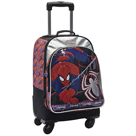 Marvel Mochila Infantil con Carro de 4 Ruedas, Diseño Spiderman
