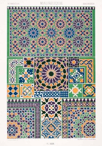 1875 Chromolithograph Moorish Geometric Pattern Mosaic Islamic Design Border Art - Original (Geometric Design Mosaic)