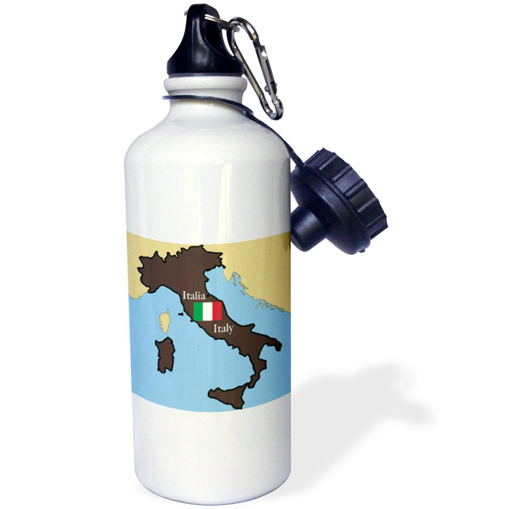 3dRose wb_37591_1 The Map and Flag of Italy with Italy Printed in English and Italian Sports Water Bottle, 21 oz, White