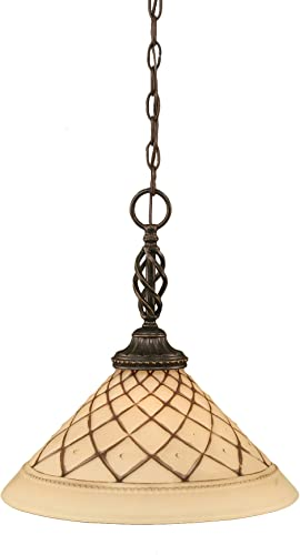 Toltec Lighting 82-DG-718 Elegante One-Light Pendant Dark Granite Finish with Chocolate Icing Glass Shade, 16-Inch