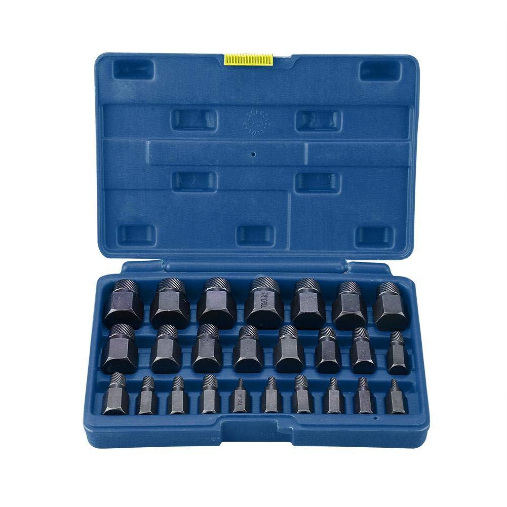 Multi Spline Screw Extractor Set, 25pcs Multi Spline Screw Extractors Sturdy Designed Tools for Studs Bolts Removal (blue case) by Estink