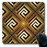 Ahawoso Mousepads for Computers Pattern Luxury Modern Shiny Versace Vintage Key Grecian Greek Ancient Gold Design Antique Oblong Shape 7.9 x 9.5 Inches Non-Slip Oblong Gaming Mouse Pad