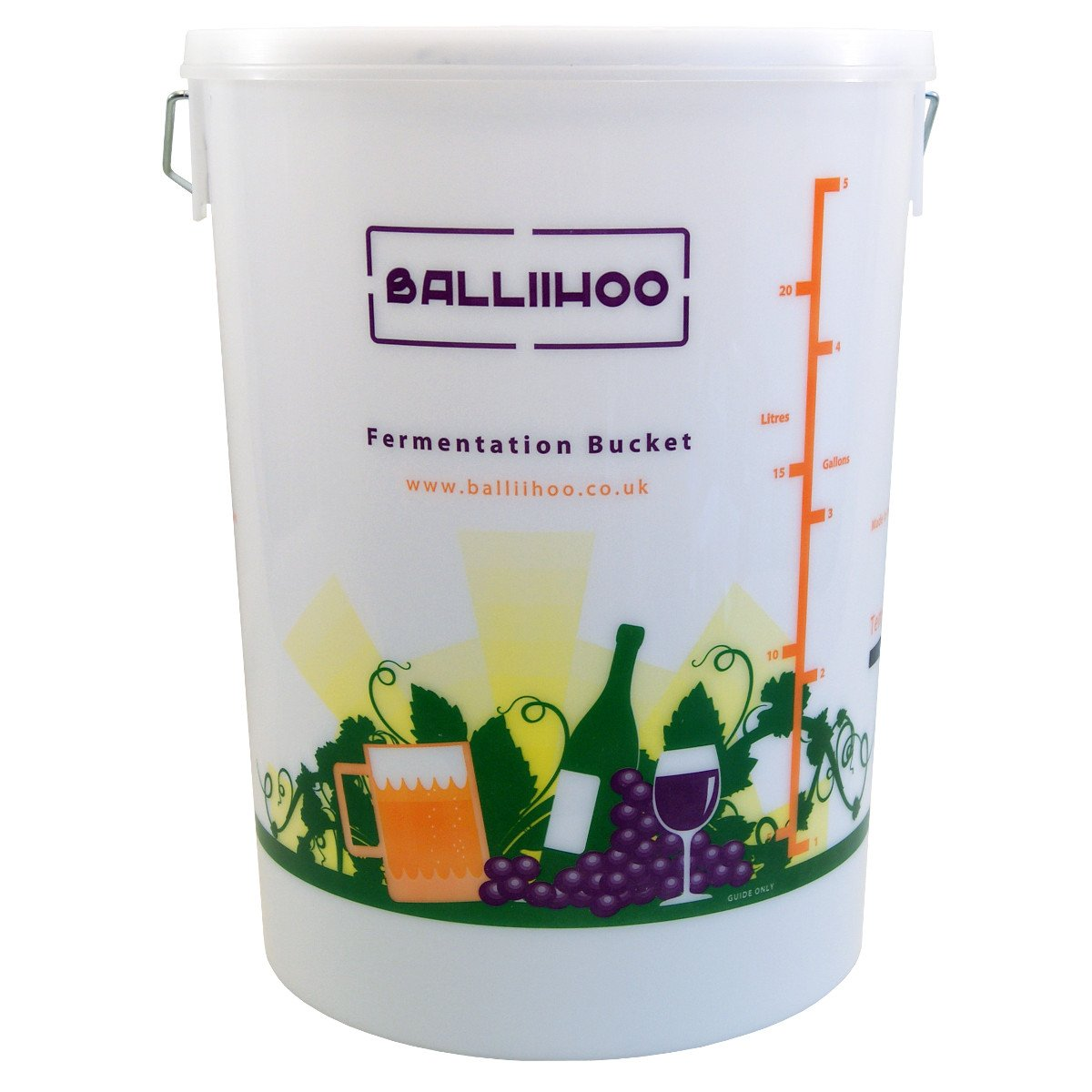 Balliihoo® 5 Gallon/25 Litre Fermentation Bucket With LCD Temperature Indicator Balliihoo Homebrew