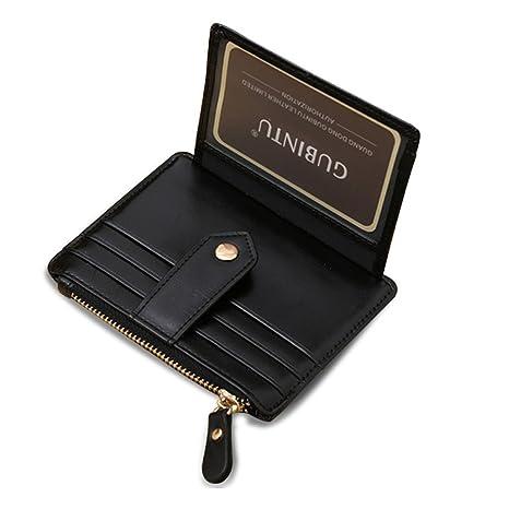 Portafoglio sottile con cerniera Fermasoldi in pelle Portafoglio frontale  con cerniera portamonete e clip a bottone 65b8ab2c7f98