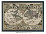Laminated Posters Framed - Vintage Style World Map - 1626-17th Century - Push Pin Memo Notice Board - Black Driftwood Effect - Matt Finish - Measures 96.5 x 66 cms (38 x 26 Inches - Approx)