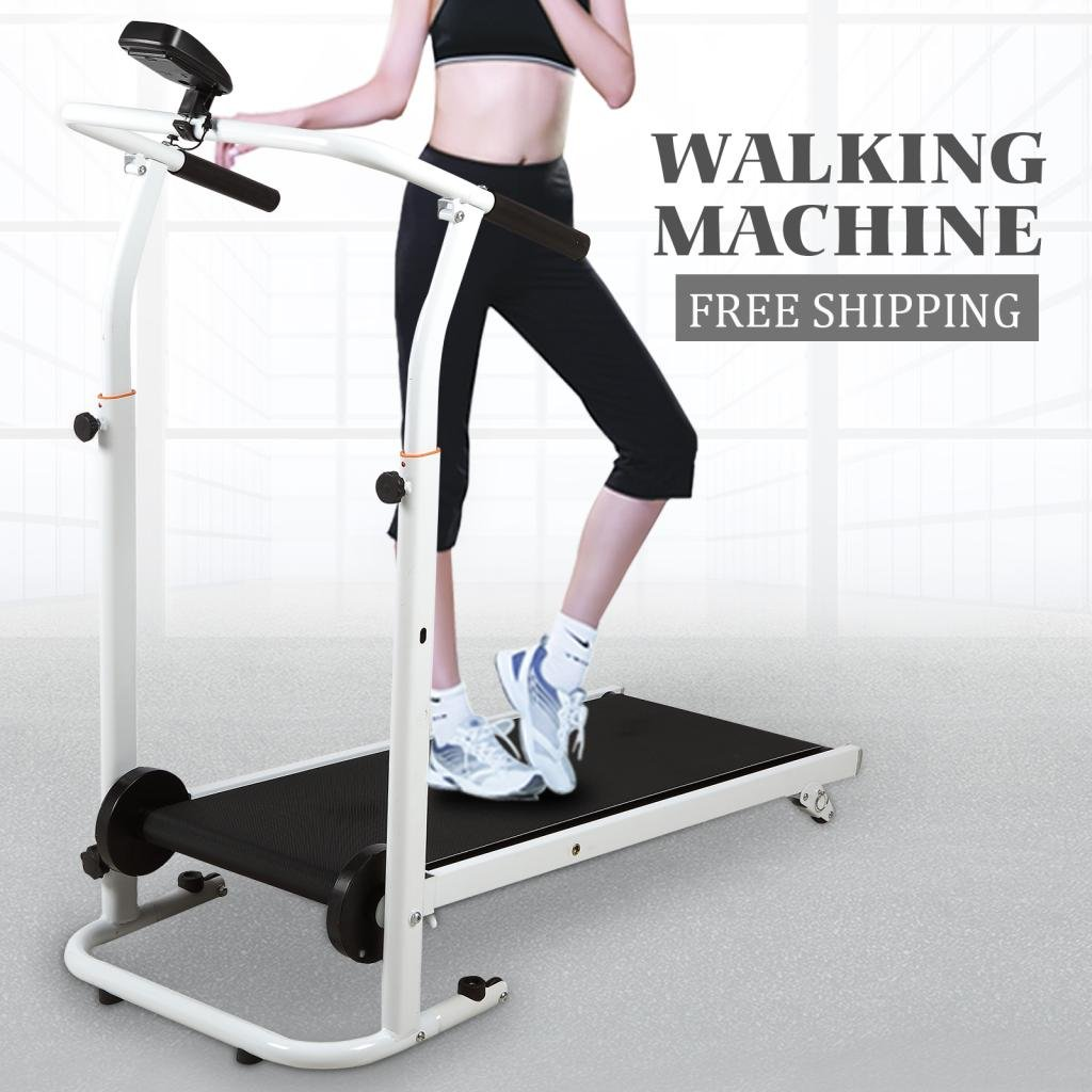IdealchoicePorduct Folding Manual Running Treadmill Incline Home Gym Maching Cardio Stride Fitness Walking Workouts with Twin Flywheels