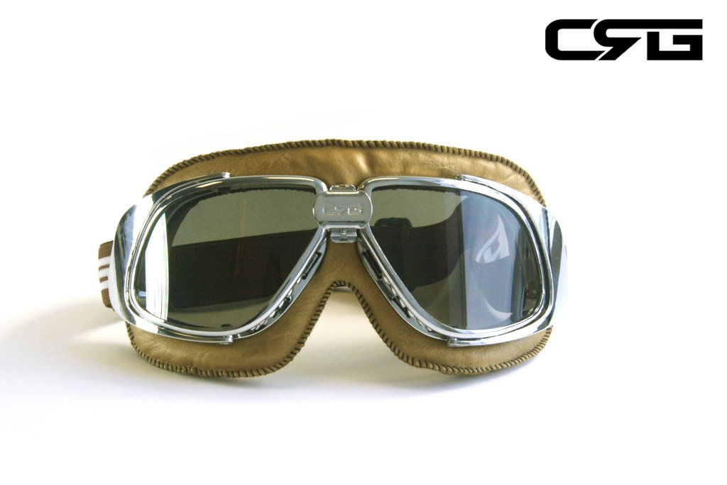 CRG Sports Vintage Aviator Pilot Style Motorcycle Cruiser Scooter Goggle T10 T10STN-L Smoke lens, Silver frame, Light brown padding by CRG Sports