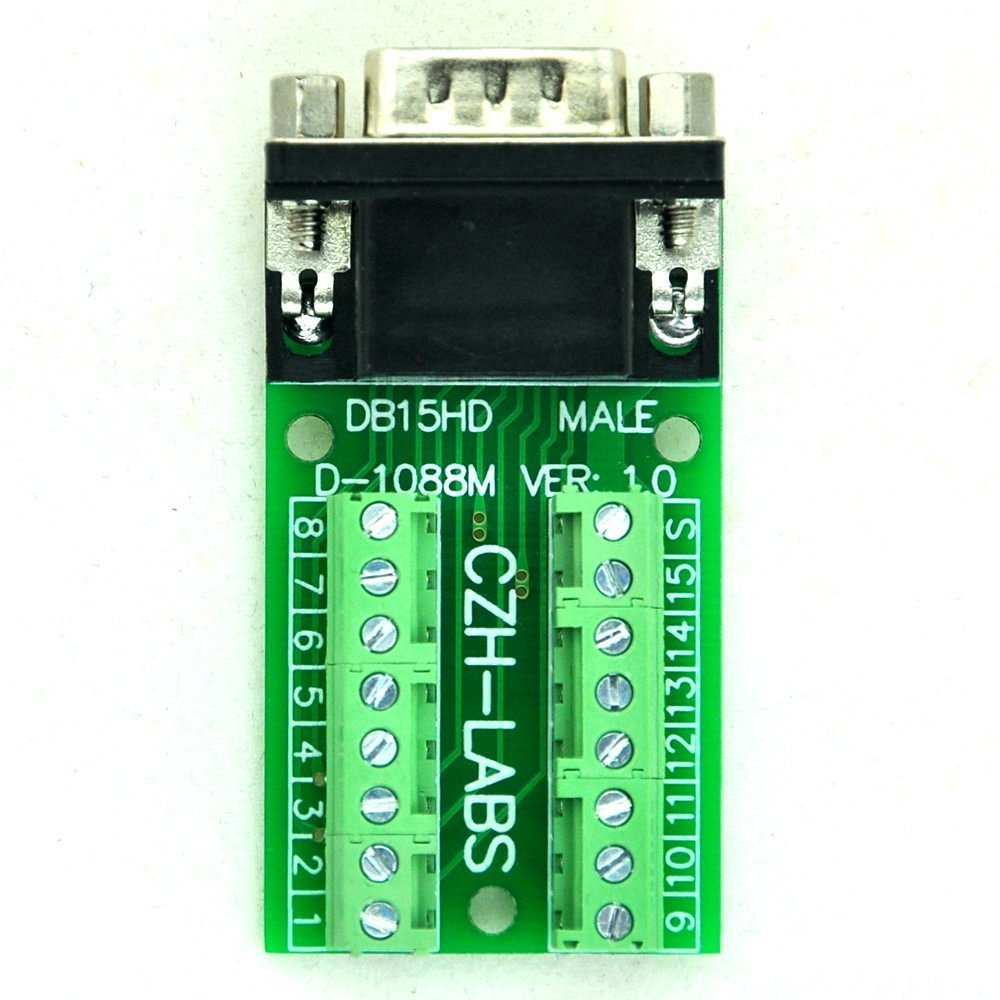 Electronics-Salon Slim Right Angle DSUB DB15HD Male Header Breakout Board Module Terminal Block DSUB Connector.