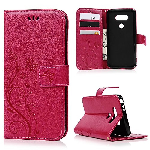 LG G5 Case, Premium PU Leather Embossed Butterfly Notebook Wallet Cover with Kickstand Credit Card ID Slot Magnetic Closure Folio Flip Protective Slim Skin Cover for LG G5 by MOLLYCOOCLE, Rose