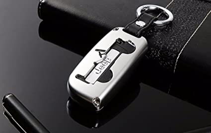 Highitem Car Key Case Cover Ring Keychain Key Chain For Jeep Renegade 2014-2017& Jeep Compass 2017Up (Silver)