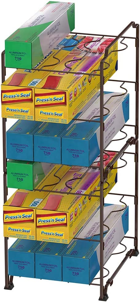 3-Tier Kitchen Wrap Organizer Rack,Stackable Kitchen Cabinet and Counter Shelf Organizer for Food Wrap, Foil, Wax Parchment Paper (2 PACK,Bronze)