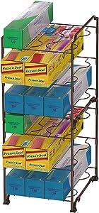 3-Tier Kitchen Wrap Organizer Rack,Stackable Kitchen Cabinet and Counter Shelf Organizer for Food Wrap, Foil, Wax Parchment Paper (2 PACK,Bronze)