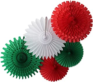 product image for 5-Piece Tissue Paper Fans, Red White Green