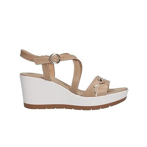 NERO GIARDINI sandali donna con zeppa pelle sabbia n. 38 P805710D 5710 .