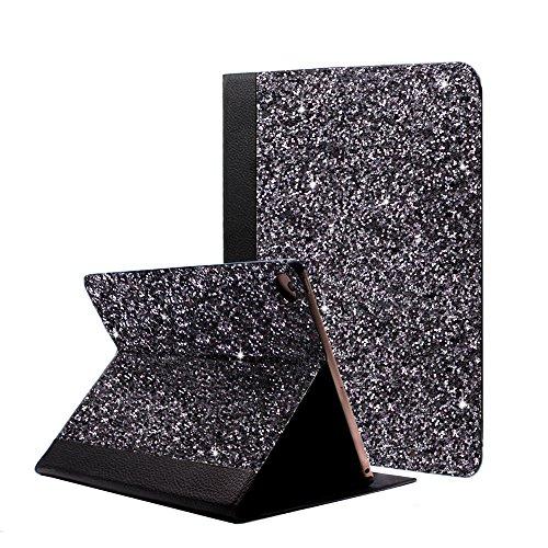 iPad Air 2 Case Glitter, iPad Air Case, ClarksZone Sequins Glitter Case 9.7inch [Flip Stand Function] [Auto Sleep/Wake] Universal Case for Apple iPad Air/Air2/Pro 9.7 2017 2018(Black) by ClarksZone