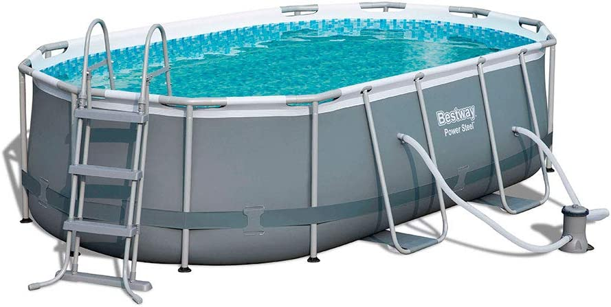 Bestway 56620 Power Steel – Piscina Exterior Ovalada, 427 x 250 x ...