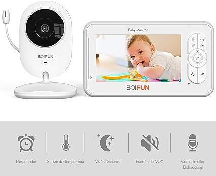 Monitor de beb/é Vigilabeb/és con c/ámara Vigilabeb/és audio wifi Pantalla de color digital de 3,2 Monitor de temperatura de conversaci/ón bidireccional y canciones de cuna Visi/ón nocturna infrarroja