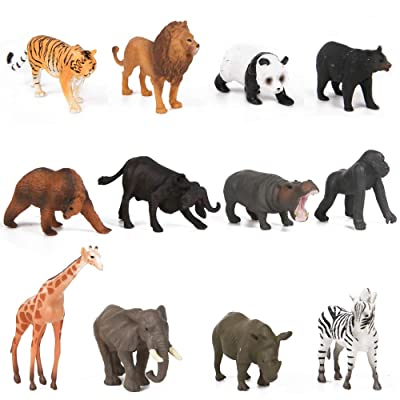 PROLOSO Mini Realistic Safari Jungle Wild Forest Animals Figures Party Favors Cupcake Toppers 12 Pack: Toys & Games