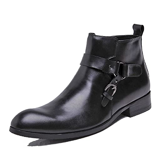 Black/Brown US Size 5-12 Western Genuine Leather Mens Business Formal Dress Hook And Loop Ankle Boots Shoes