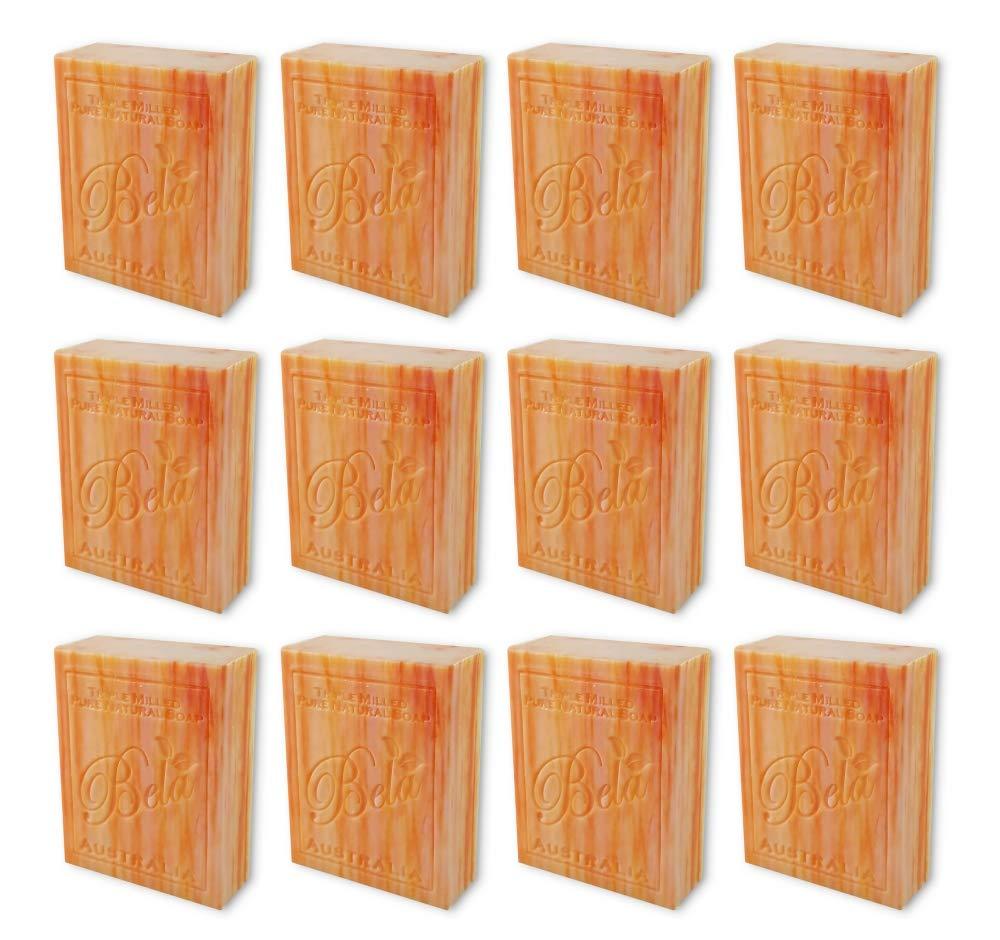 Bela Bath & Beauty, Orange Zest, Triple French Milled Moisturizing Soap Bars, No Harsh Ingredients, 3.5 oz each - 12 Pack