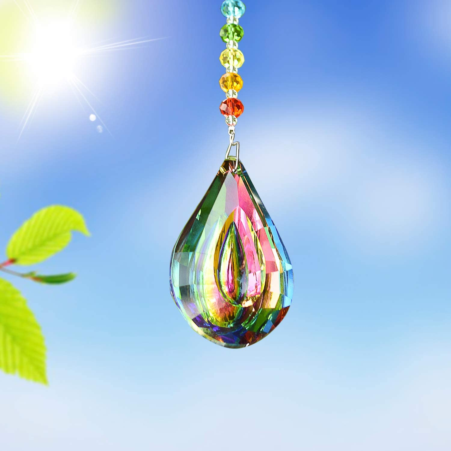 Colorful Green MerryNine Crystal Hanging Colorful Green Concave Teardrop Lamp Prisms Parts 76mm Loquat Shape Chandelier Lighting Crystal Pendant Curtain Decorative Jewelry Accessories Sun Catcher