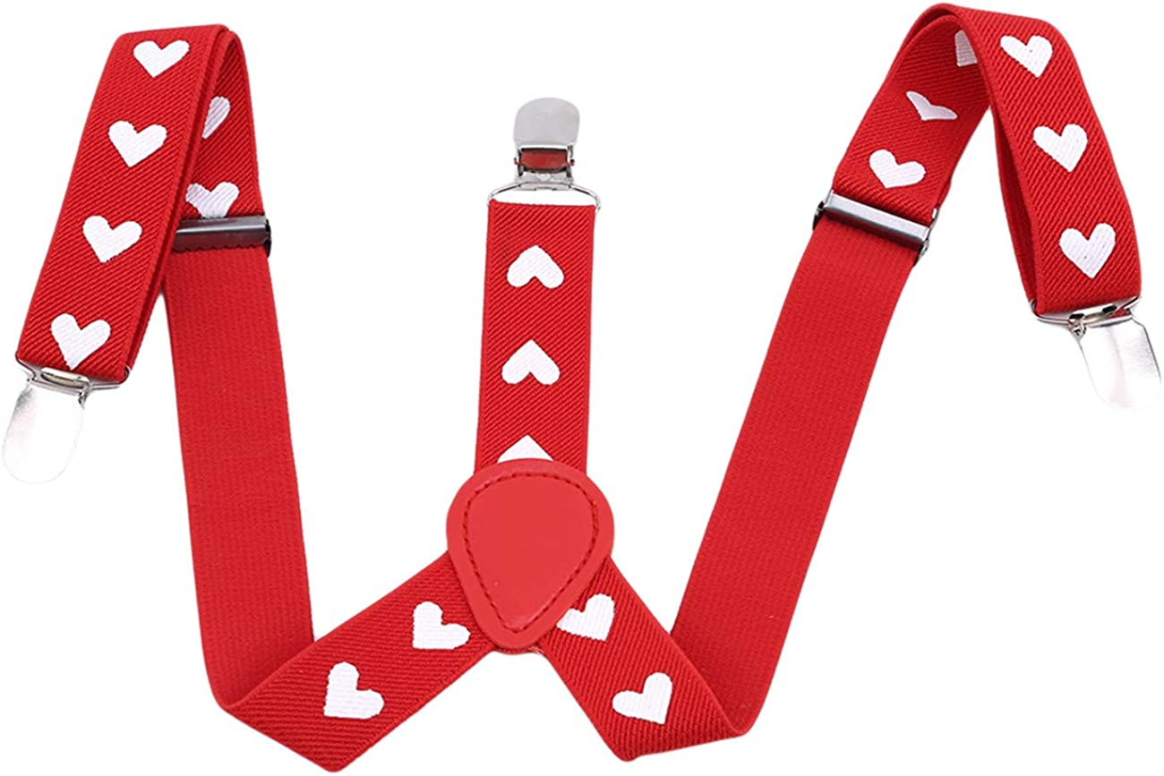 ZALING Chidren Toddlers Red Heart Type Print Suspenders Y-Back Adjustable Clip-on Trousers Elastic Party Braces
