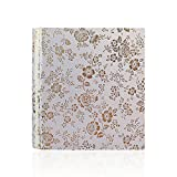 Zhi Jin Vintage Floral Leather Photo Album Slip In Hold 100 Pockets 7x5 Inch Picture Memory Birthday Wedding Albums Gift, Beige