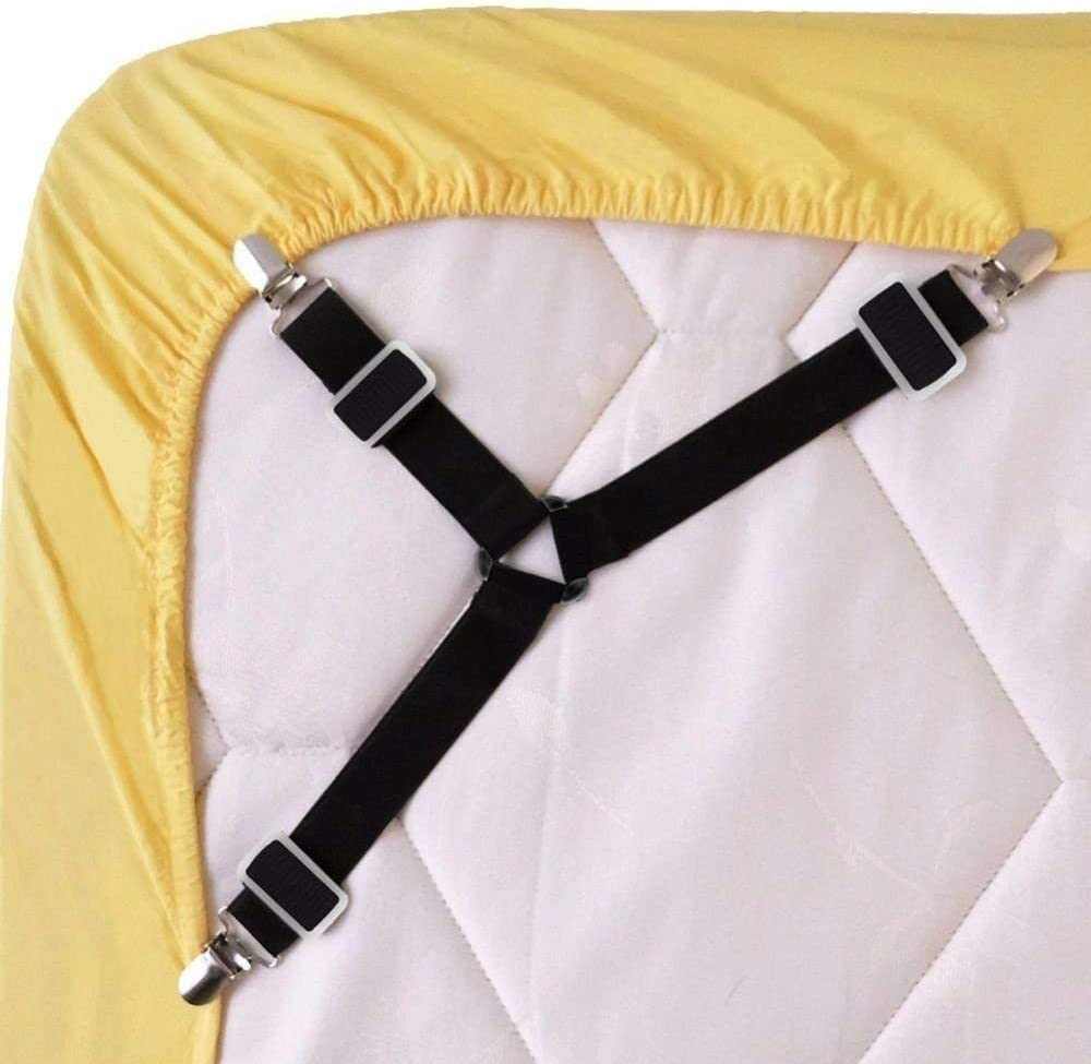 Sconosciuto Generic Nero Regolabile Bed Sheet Supporto Cinghia Cinghia Cinghia Clip Clip Strapse Elastic Band Metallo Clips 4//8 Pezzi Elastico Triangolo Cinghie per Lenzuolo Coprimaterasso