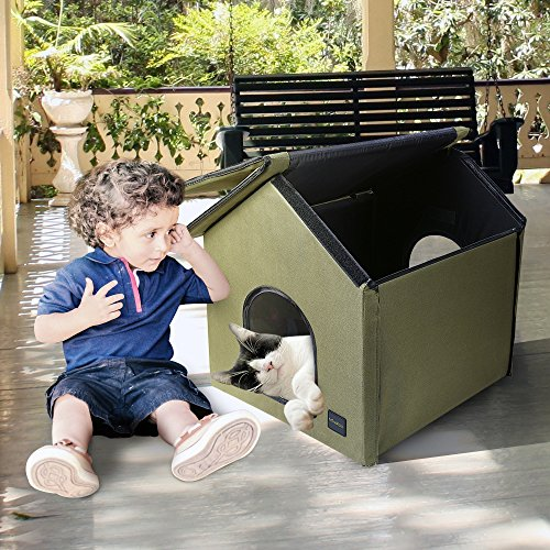 Mindkoo-Pet-House-Kennel-Hut-Cat-Dog-Condo-Tent-with-Cozy-Blanket-Bed-Army-Green