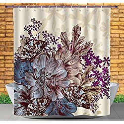 iPrint Popular Shower Curtain by, Floral,Hand Drawn Pastel Color Flowers with Butterflies Vintage Detailed Image,Blue Purple White Brown,Polyester Fabric Bathroom Decor Set with Hooks