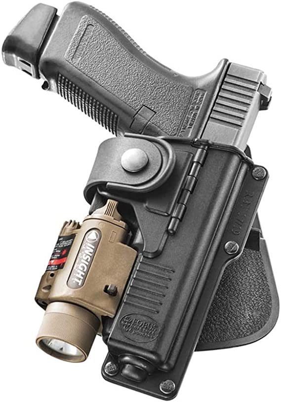 Fobus Tactical RBT17 RT Standard Right Hand Conceal Carry Polymer Roto Paddle Light Laser Holster For Glock 17/22/31