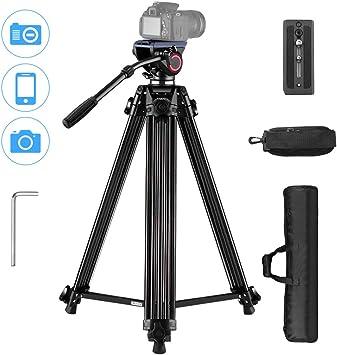 HUIGE Camera Tripod Portable Hydraulic Damping Large Load-Bearing Camera Tripod SLR Camera Tripod