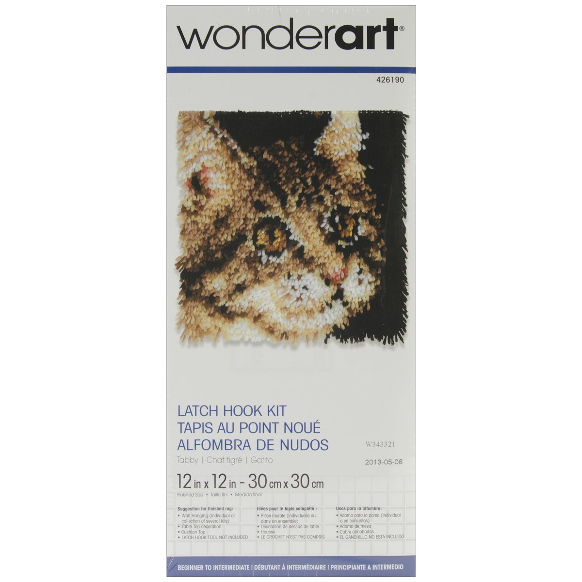 WonderArt 426224C Latch Hook Kit, 12 X 12, Hockey Skates 12 X 12