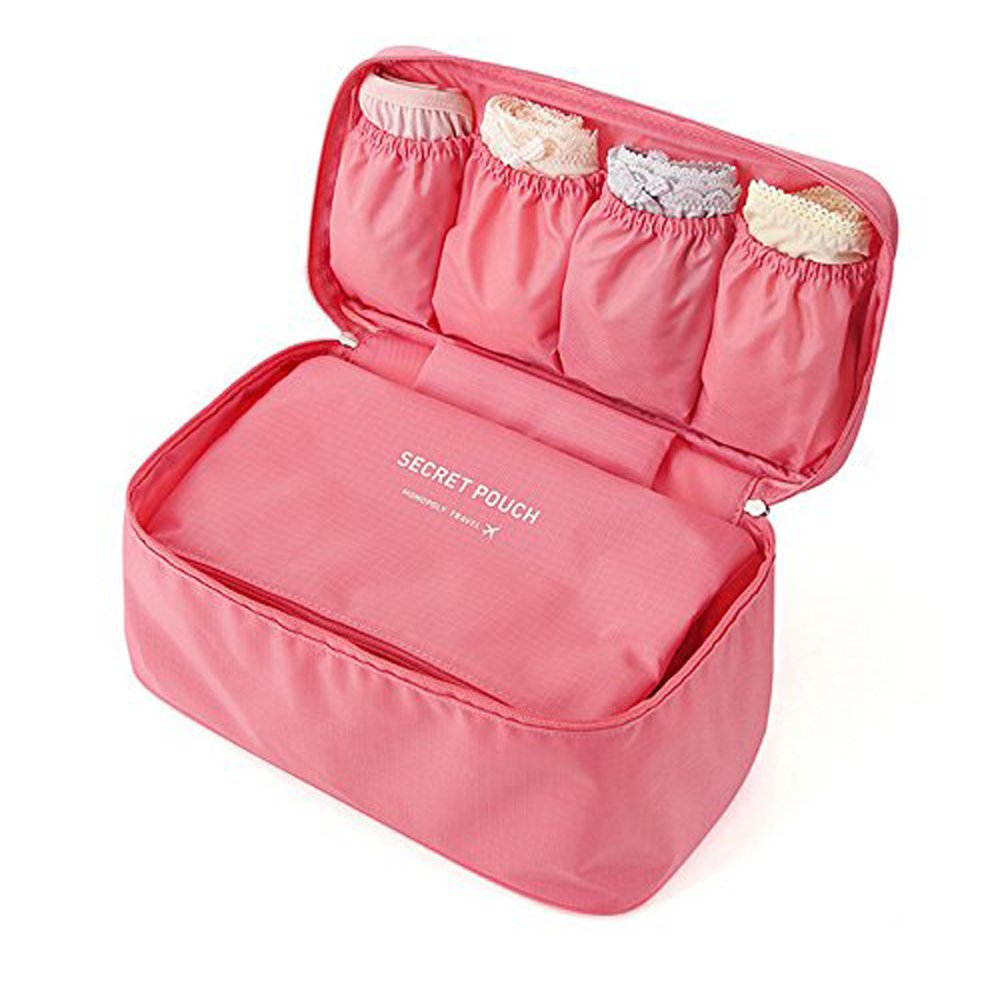 Multi-Functional Fashionable Makeup Cosmetic Bag Travel Organizer Underwear Bra Cases Bag (Pink)
