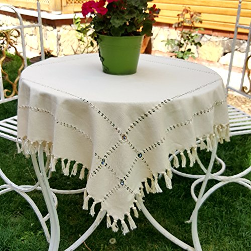 """Secret Sea Collection - Handmade, %100 Natural Cotton,Traditional Small Tea & Coffee Table Tablecloth, Decorated with Blue Beads, Square, Round Table Tablecloth, (36""""x36""""), Cream-Beige"""