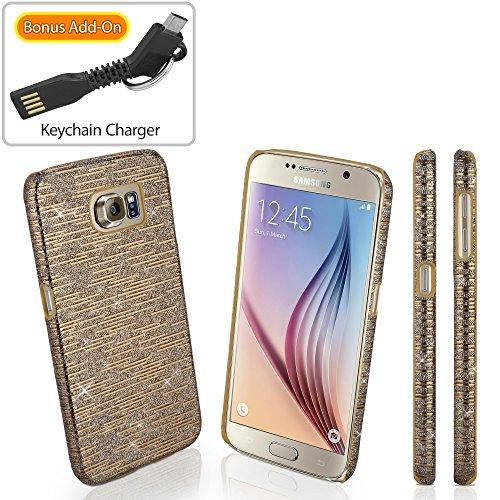 Galaxy S6 Case, BoxWave [Digital Glitz Case with BONUS Keychain Charger] Slim-Fit Back Cover w/ Glitter Pattern Design for Samsung Galaxy S6 - Bronze
