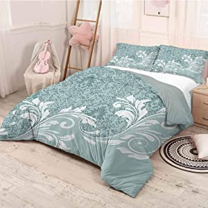 HELLOLEON Vintage 3-Pack (1 Duvet Cover and 2 Pillowcases) Bedding Retro Floral Ivy Leaves with Swirls Abstract Vector Artwork Polyester (Queen) Baby Blue White and Slate Blue