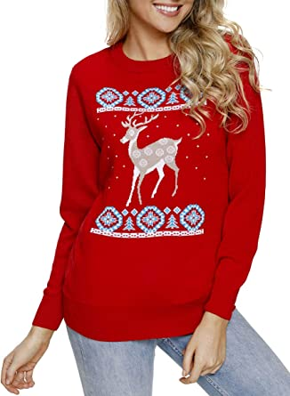 76b453c4e Elapsy Womens Cute Round Neck Adorable Reindeer in The Snow Red Oversized Knit  Christmas Sweater Club