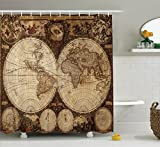 Ambesonne Wanderlust Decor Shower Curtain Set Old World Map Drawn In 1720s Nostalgic Style Art