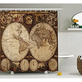 Wanderlust Decor Shower Curtain Set By Ambesonne, Old World Map Drawn In  1720s Nostalgic Style