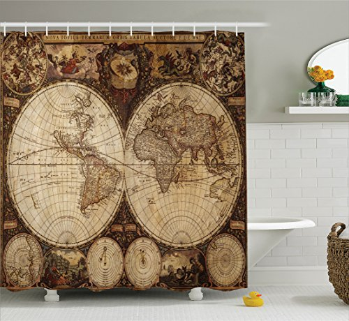 Vintage Old Map - Ambesonne Wanderlust Decor Shower Curtain Set, Old World Map Drawn in 1720s Nostalgic Style Art Historical Atlas Vintage Design, Bathroom Accessories, 75 Inches Long, Multi