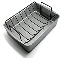 OvenStuff Non-Stick 17.2 Inch x 12.7 Inch x 2.7 Inch Large Roasting Pan with Rack