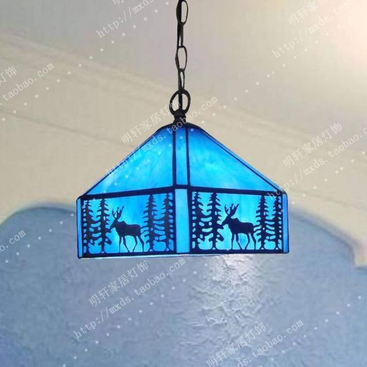 Eeayyygch Deckenleuchte Kronleuchter Creative Simple Classical Art Blau-20cm