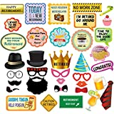 Retirement Party Photo Booth Props – 36 pc Retirement Party Supplies for Pictures and Decorations Includes Colorful Dress-Up Props, Speech Bubbles, Phrase Signs – Unisex Retirement Décor by Scapa Pro