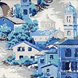Venice Lagoon Toile King Duvet Cover with Gent Flax Reverse