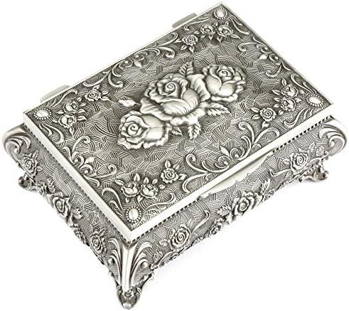 H&S®, portagioie in metallo antico, stile vintage, con 3 rose sulla parte superiore, per riporre e mostrare collane e anelli